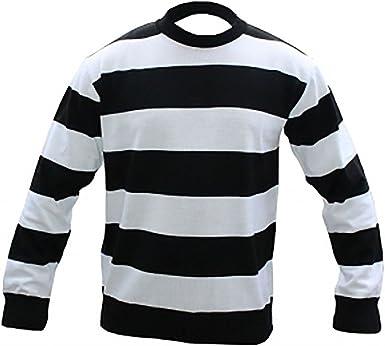 Men/'s Black /& White Stripe Convict Knitted Jumper Halloween Black// White Jumper