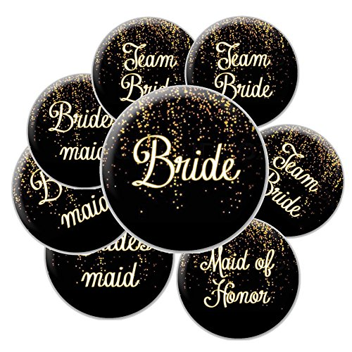 16 Black and Gold Sparkle Team Bride Buttons - Bachelorette Buttons - Bridal Party Buttons -