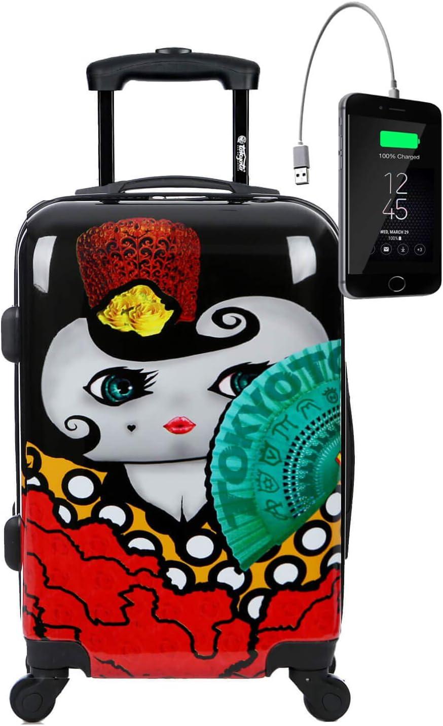 TOKYOTO - Maleta de Cabina Equipaje de Mano, Flamenca con Cargador USB, 8000mAh, 55x40x20 cm | Maleta Juvenil, Trolley de Viaje Ryanair, Easyjet | Maleta de Viaje Rígida Divertida