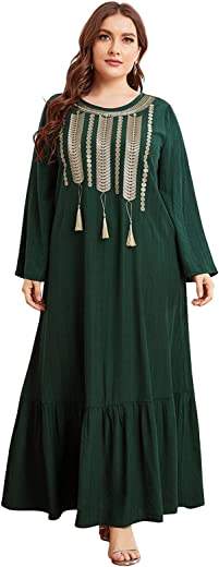 فستان نسائي طويل بأكمام طويلة من GZTM مطبوع عليه صباغة مموهة