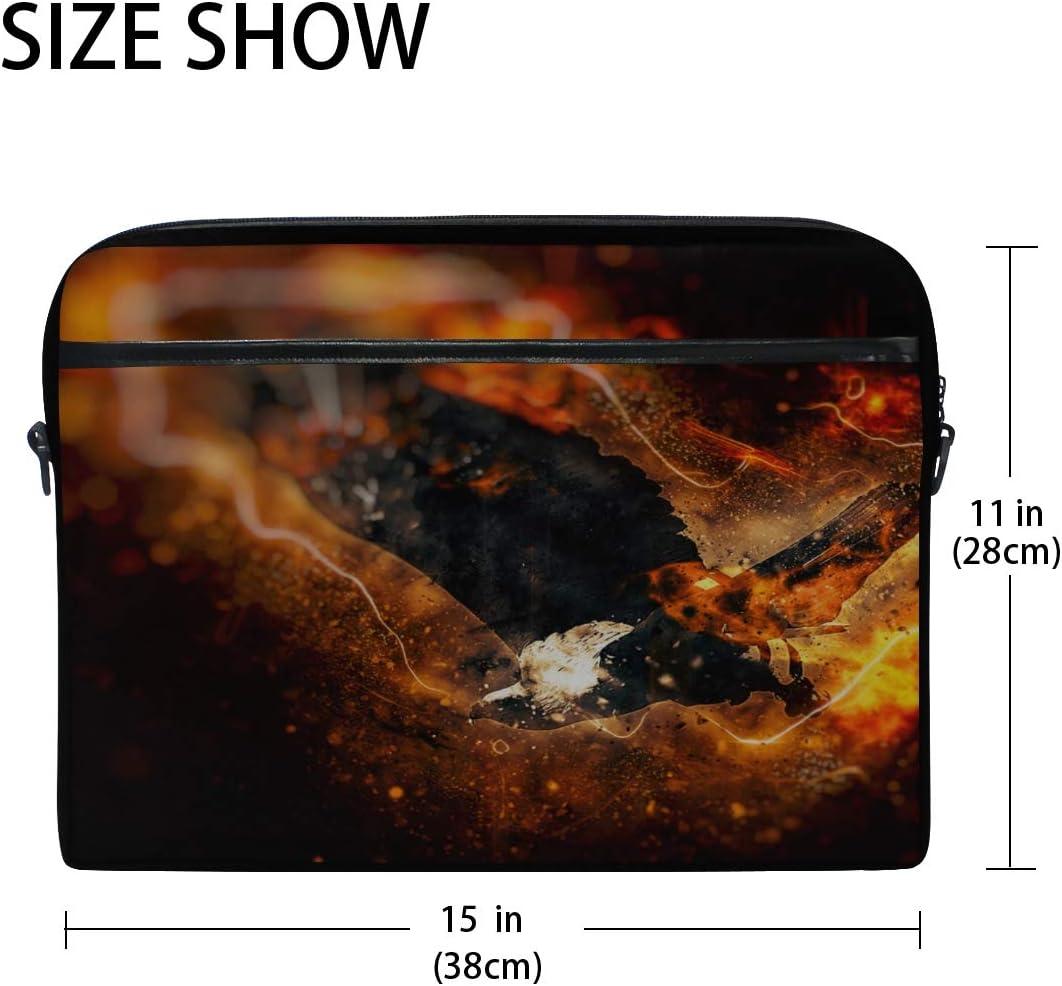 College Students Business People Office Briefcase Messenger Shoulder Bag for Men Women Laptop Bag African Fish Eagle Fire 15-15.4 Inch Laptop Case