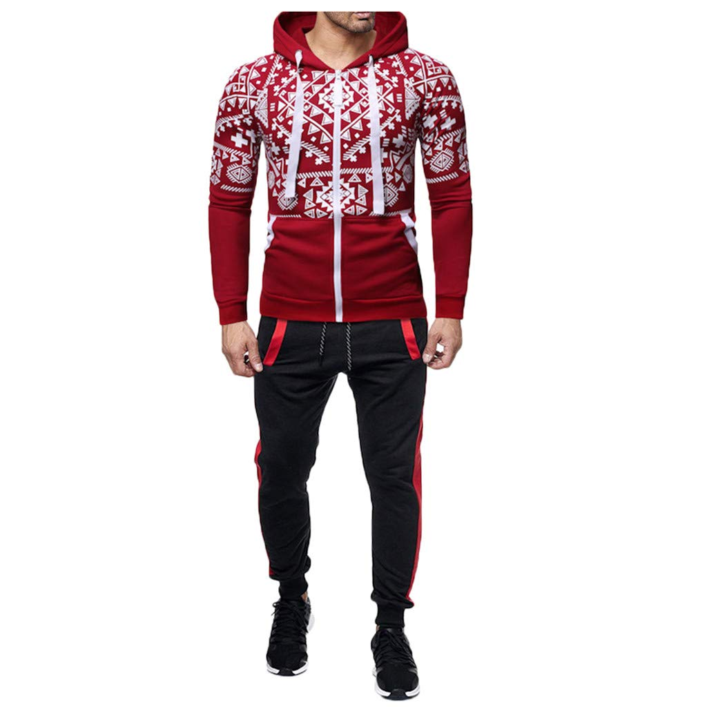 Mens Track Suits 2 Piece Outfits Long Sleeve Full-Zip Sweatshirt Jackets Hoodie Windbreaker Geometers Print Slim Fit Joggers Pants Set Stretchy Casual Workout Sweat Suits Activewear by Armfre Two-Piece-Outfit