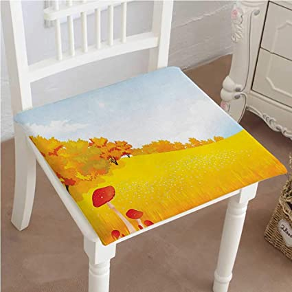 Mikihome Outdoor Chair Cushion Fall Season Rural Landscape In Wide Meadow On Sunny Day Farm Themed