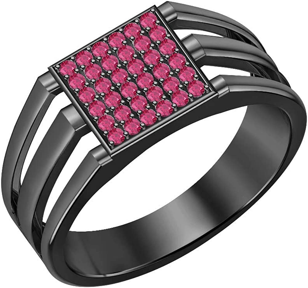 SVC-JEWELS 14k Black Gold Over 925 Sterling Silver Pink Ruby Cluster Engagement Wedding Band Ring Mens