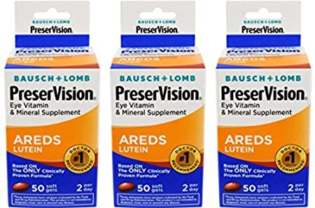 Amazon.com: Bausch & Lomb Preservision with Lutein Eye Vitamin & Mineral Supplement, 50-Count Soft Gels (Pack of 3): Health & Personal Care