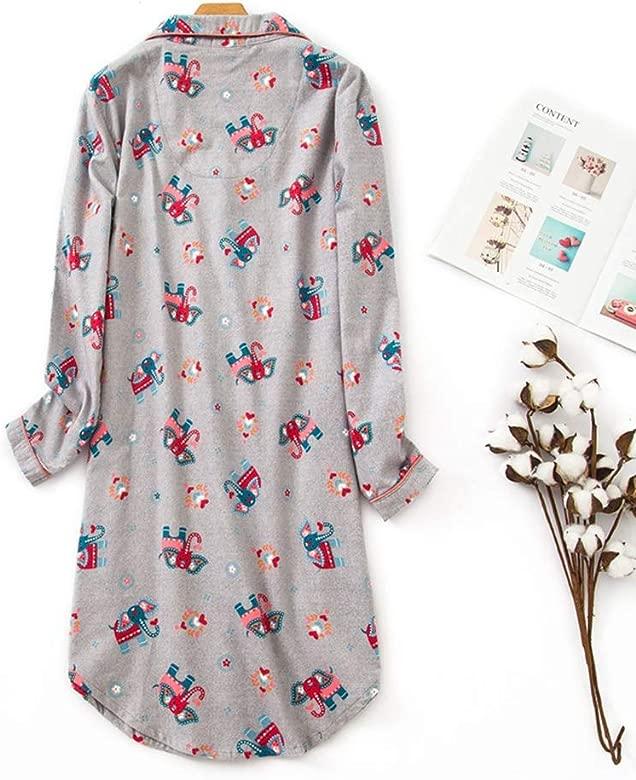 Mujer Pijama Mujer Algodon Invierno Manga Larga Ropa De Dormir Tallas Grandes Camison Botones Pijamas Camisones Ropa Mujer