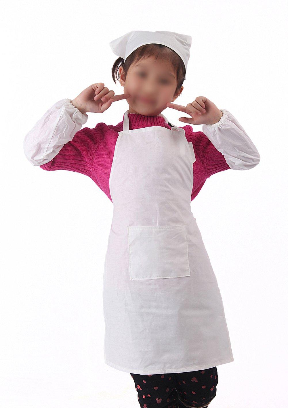 pintura arte de algod/ón blanco con bolsillo para ni/ños Delantal de cocina para horno Chytaii barbacoa jard/ín
