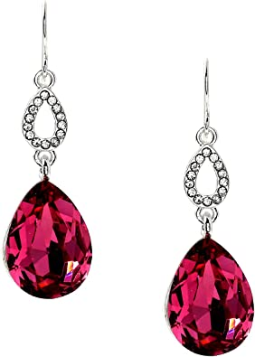 Brand New Fuchsia Rhinestone Crystal Dangle Teardrop Clip Earrings