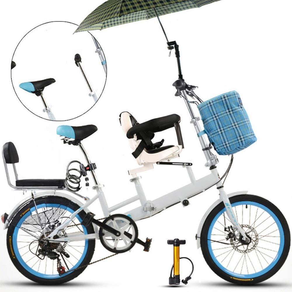 YUMEIGE triciclos 20 Pulgadas de Bicicleta, la Madre y el niño Plegables en tándem cambiando el Freno de Disco Valla cinturón de Seguridad Doble Madre Recoger Bicicleta niño (Azul) Disponible