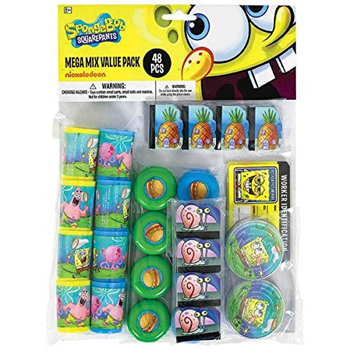 Silly Spongebob Party Mega Mix Assorted Favours, Plastic, Pack of 48 -