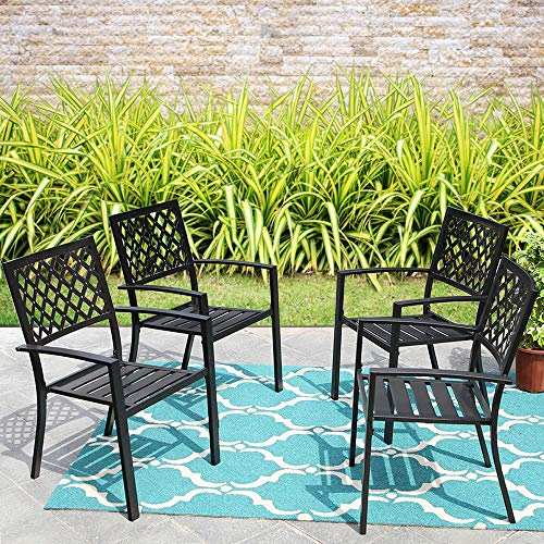 MF Studio Black Metal Patio Stacking Chairs Wave Back Indoor Outdoor Dining Set Wrought Iron Chair with Arm, Set of 4 (Outdoor Black Chair)