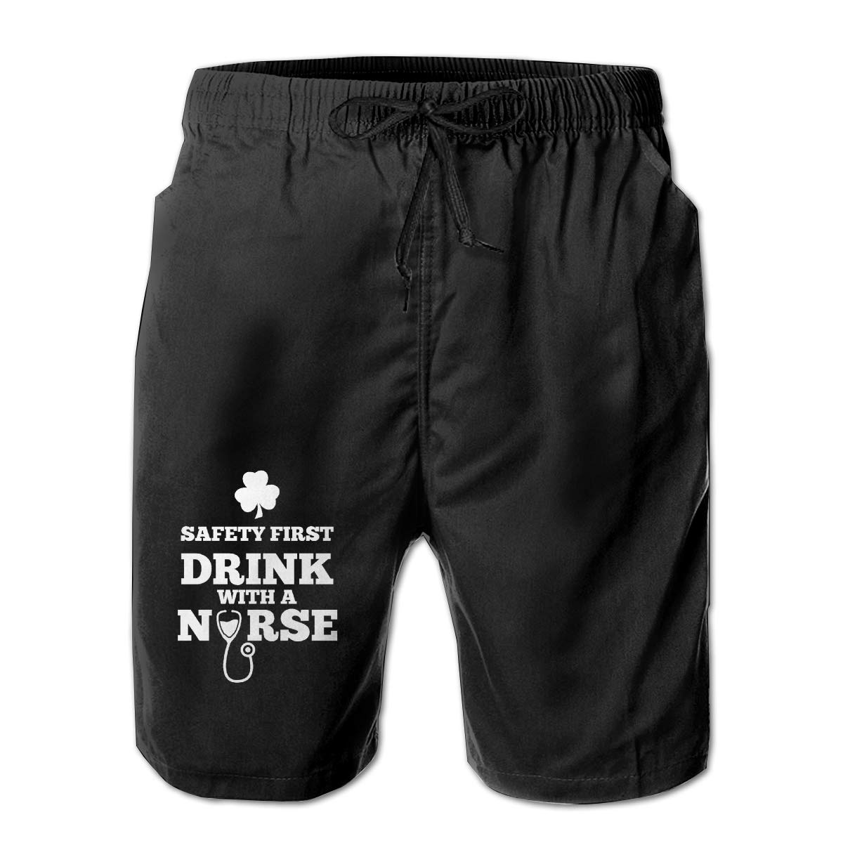 Monwe Safety First Drink with A Nurse Boys Summer Casual Shorts,Beach Shorts Comfortable Shorts