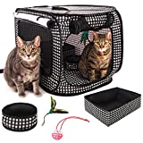 CheeringPet, Cat Travel Cage: Portable Pop Up Pet Crate with Collapsible Litter Box, Foldable Feeding Bowl, Hanging Feather Teaser and ball, & carrying Bag, Extra Large 32'' X 19'' X 19''