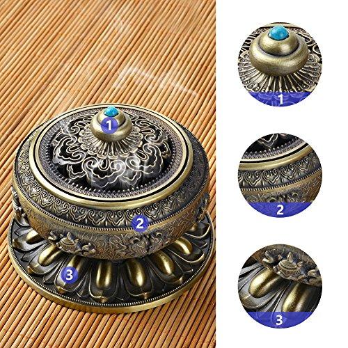 Zenlink Incense Holder Burner, Tibet Lotus Copper Alloy (Stick/Cone/Coil Incense) with Incense Burner Holder, Ideal for Yoga/Meditation Room or Home Decor