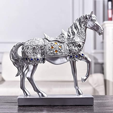 """Silver Art Horse Bust 12/"""" Ornament Living Room Display Gift"""