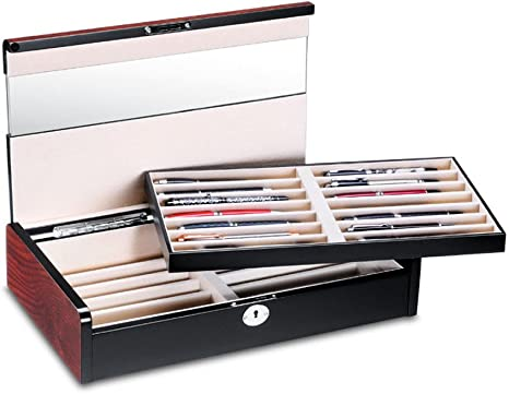 Caja para lápices de madera con vitrina, caja estuche para 28 bolígrafos con acabado caoba: Amazon.es: Relojes