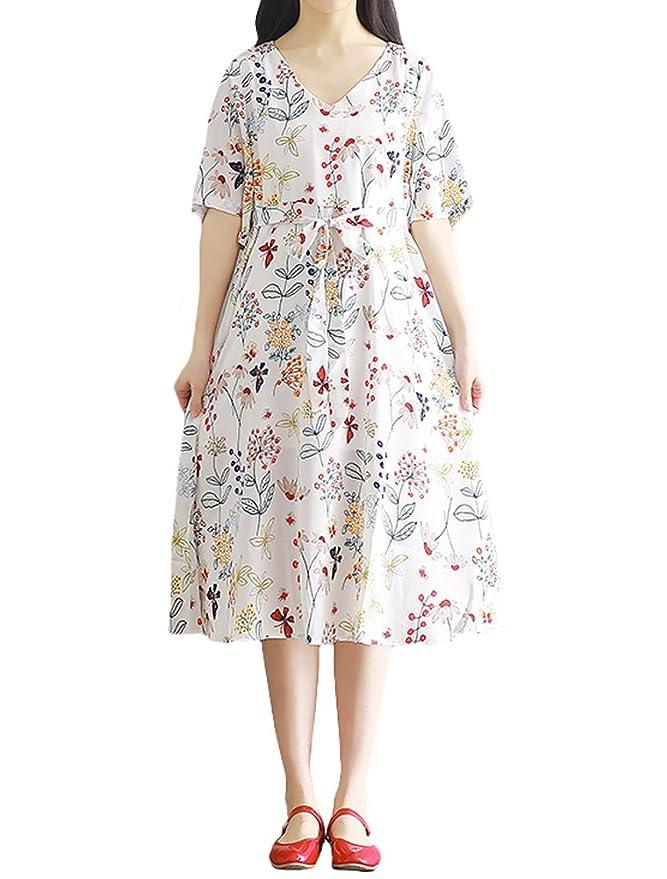 MatchLife Damen V-Ausschnitt Dreiviertelarm Ärmellänge A-Linie Midi Chiffon  Kleid: Amazon.de: Bekleidung