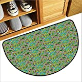 Axbkl Interesting Doormat Kids Car Race Track Roadway Activity Hand Drawn Style Suburb Cartoon Design Neighborhood Machine wash/Non-Slip W30 xL18 Multicolor