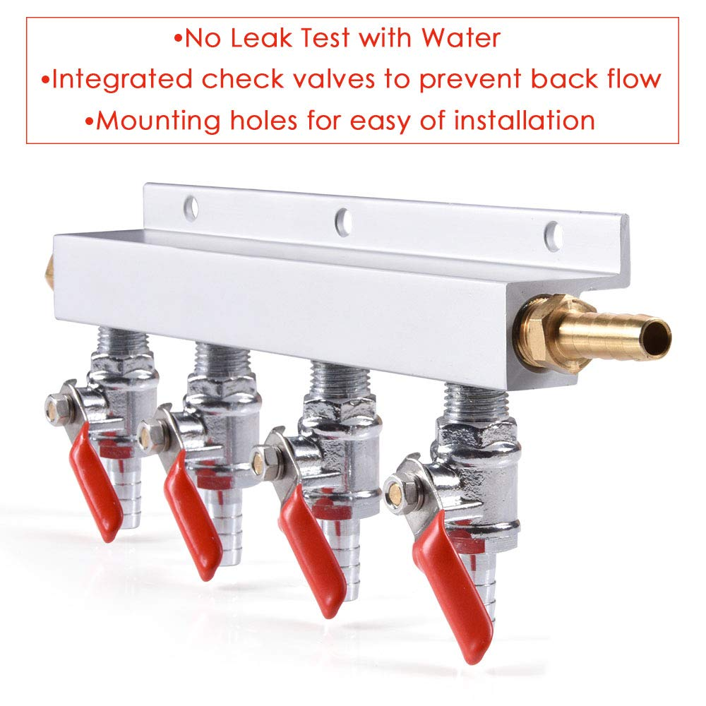 4-Way Gas Manifold CO2 Distributor Manifold 5/16 inch Barb/Stem Splitter Beer Integrated Check Valves Homebrew Beer Making Brewing Tool