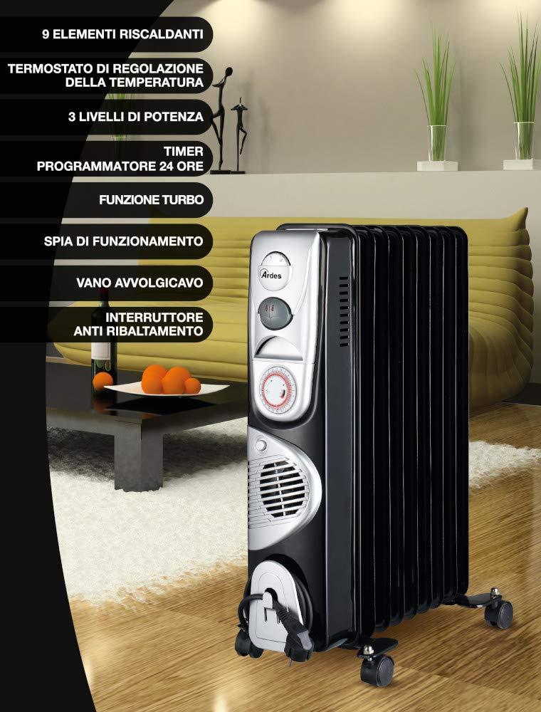 Ardes ar4r09btt Radiador de aceite eléctrico con 9 Elementos, 3 Potenze con función turbo, temporizador y compartimiento enrollacables, 2400 W, ...