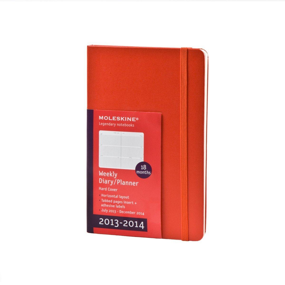 Moleskine 40159 - Agenda (18 Meses, 21 X 13 Cm), Color Rojo - agenda 2013-2014 roja large hard cover roja