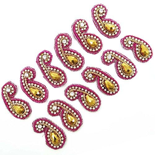 Pink Appliques Stone Bullion Applique Craft Supply Decorative Patches 1 Pair