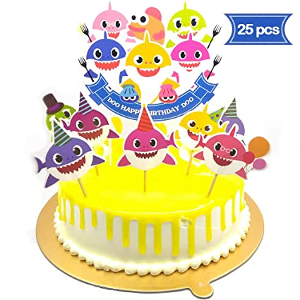 v39buy Baby Shark Birthday Cake Topper , Cute Shark Cupcake Toppers For Childrens Party , Doo Doo Baby Shower Cake Supplies And Decoration For 1st Kid ...
