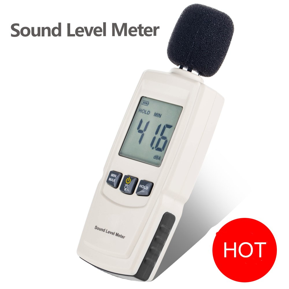 Sound Decibel Meter, GoerTek Digital Mini Sound Pressure Level Meter, Audio Noise Measurement 30-130dBA ,MAX /MIN Hold,Auto Backlight Display-3AAA Battery Includedd (GM1352)