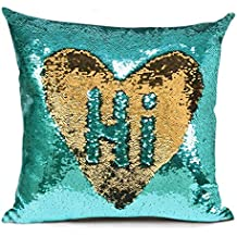 MOCOFO Teal Sequin Pillow Cover, Gold Sparkling Mermaid with Flip Mermaid Magic Glitter Reversible Color Changing Decorative Pillow Shams Dorm Room Decor for Sofa Comfy 16x16Inches