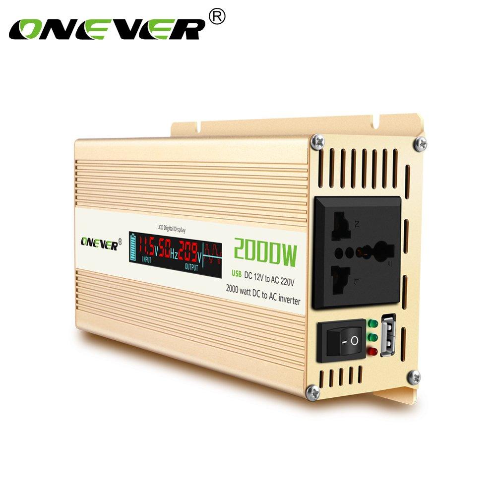 ONEVER 2000W Car Power Inverter convertitore DC 12V a 220V AC onda sinusoidale modificata Potenza con prese AC e 2.1A USB Display Supporto controllo intelligente della temperatura LCD digitale Charger