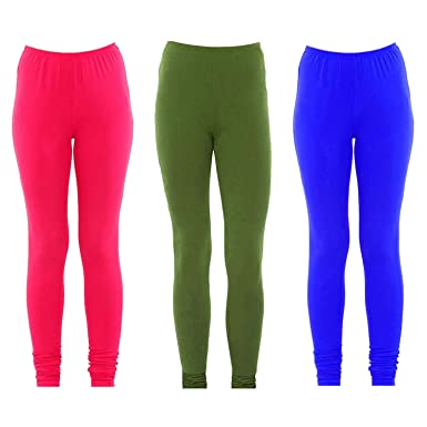 427a3bfccc Set of 3 Pink, Green and Royal Blue Women's Solid Lycra Fabric ...