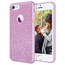 """iPhone 5S Case, iPhone SE Case, Coolden® Stylish Sparkle Glitter Case Cover Ultra Slim Soft TPU Shining Fashion Transparent Simple Clear Anti-Drop Case with Ring for iPhone SE/ 5S /5 4.0"""", Pink Purple"""