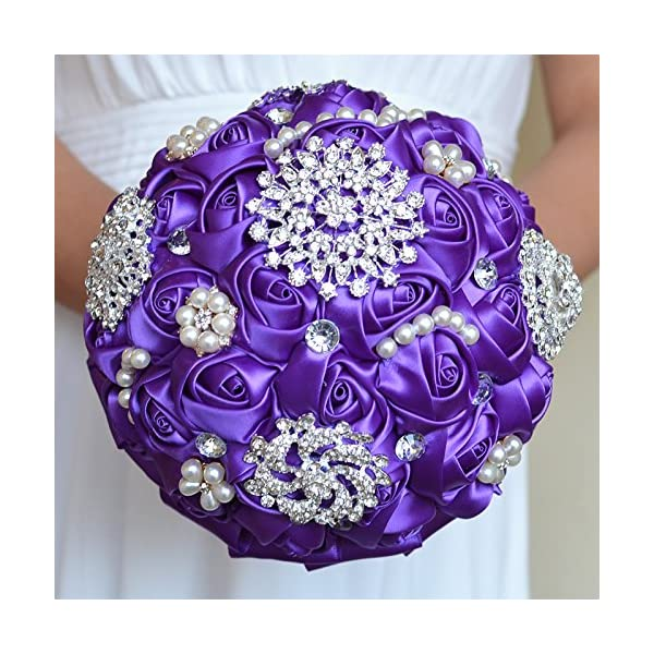 jane to love 8″ Continental American Designe Advanced Customization Romantic Wedding Bride Pearls Holding Bouquet Purple Roses Flowers with Pearls brooches Rhinestone
