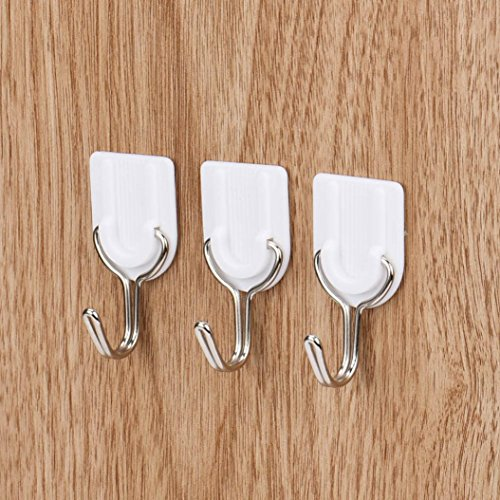 Iuhan 6PCS Strong Adhesive Hook Wall Door Sticky Hanger Holder Kitchen Bathroom White