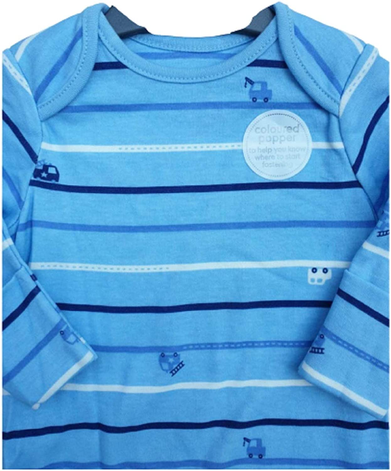 Ex Chain-store New Babygrow Poppers All in One Mothercare Blue Striped Baby Grow Sleepsuit Cotton Unisex