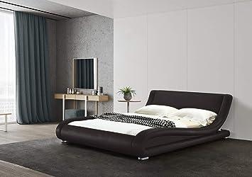 Greatime B1070 Contemporary Vinyl Platform Bed (Full, Brown)