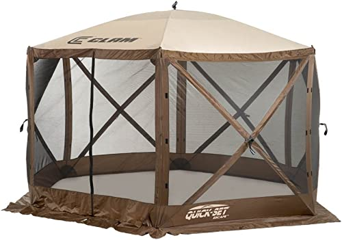 Quick Set 9879 Escape Shelter, 140 x 140-Inch Portable Popup Gazebo Durable Tent Bug and Rain Protection Easy Setup 6-8 Person , Brown Beige