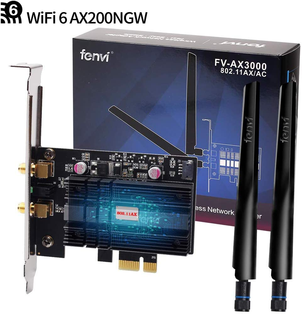 Wi-Fi 6 Gig+ AX200 BT 5.0 WiFi Card AX200NGW 802.11ac ax 3000Mbps MU-MIMO OFDMA Miracast PC Wireless Network Adapter Ultra-Fast Affordable Next-Gen PCIe WiFi Ideal for Gaming Fans