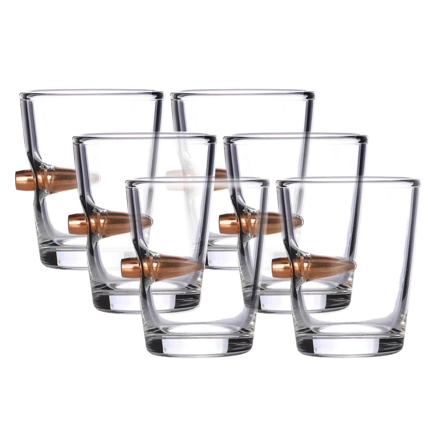 .308 Real Solid Copper Projectile Hand Blown Shot Glass - Set of 6 by Old Southern Brass