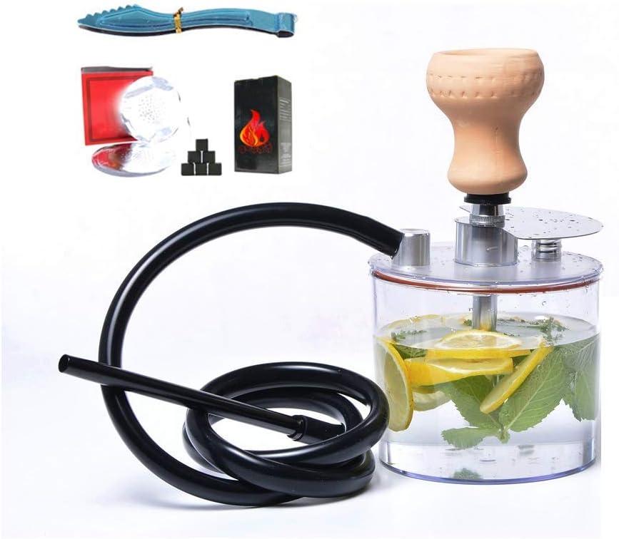 XBR Nuevo Material acrílico Shisha Shisha Moderno Juego Completo con Cuenco, Manguera de Silicona Lavable, Soporte para cenicero, Shisha de una Sola Manguera