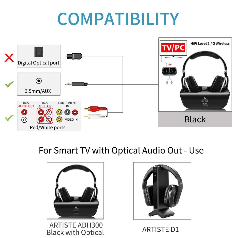 Wireless TV Auriculares, Artiste ADH300 2,4 GHz Digital - Auriculares estéreo de Diadema para televisión 100 FT Distancia transmisor de Carga Dock batería ...