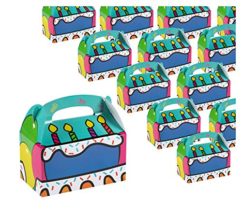 k Paper Party Favor Boxes, Cake and Candles Design Goodie Boxes for Birthdays and Events, 2 Dozen Party Gable Boxes, 6 x 3.3 x 3.6 inches ()