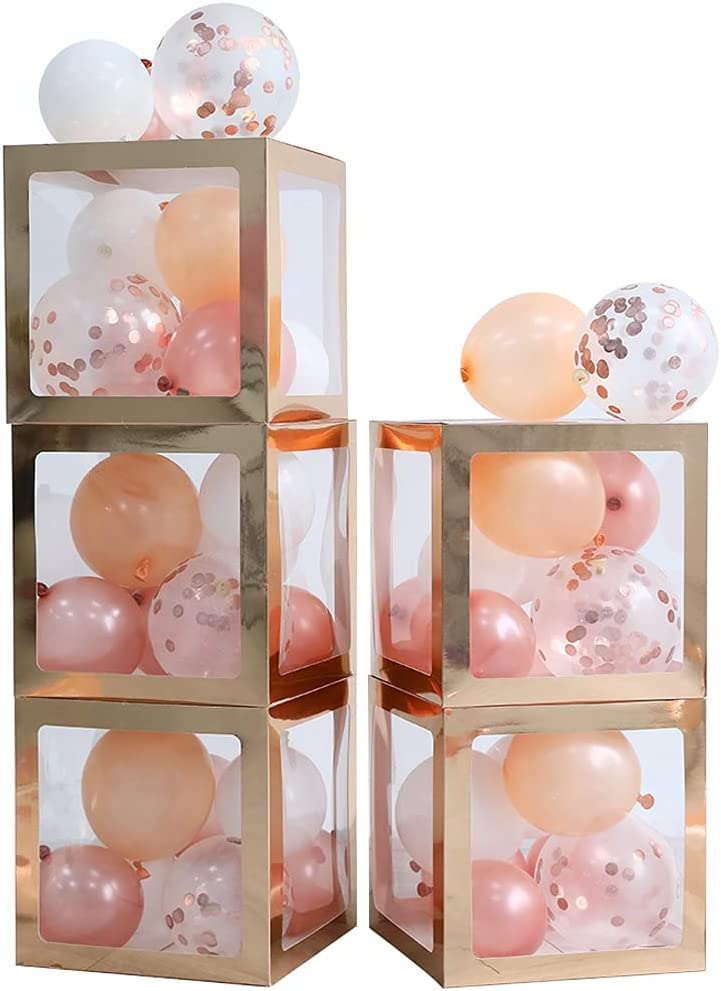 Rose Gold Balloon Boxes Set of 5 Transparent Block Boxes with 41pcs white Champagne Gold and Confetti Balloons for Bridal Shower Wedding Anniversary Bachelorette Party Decor