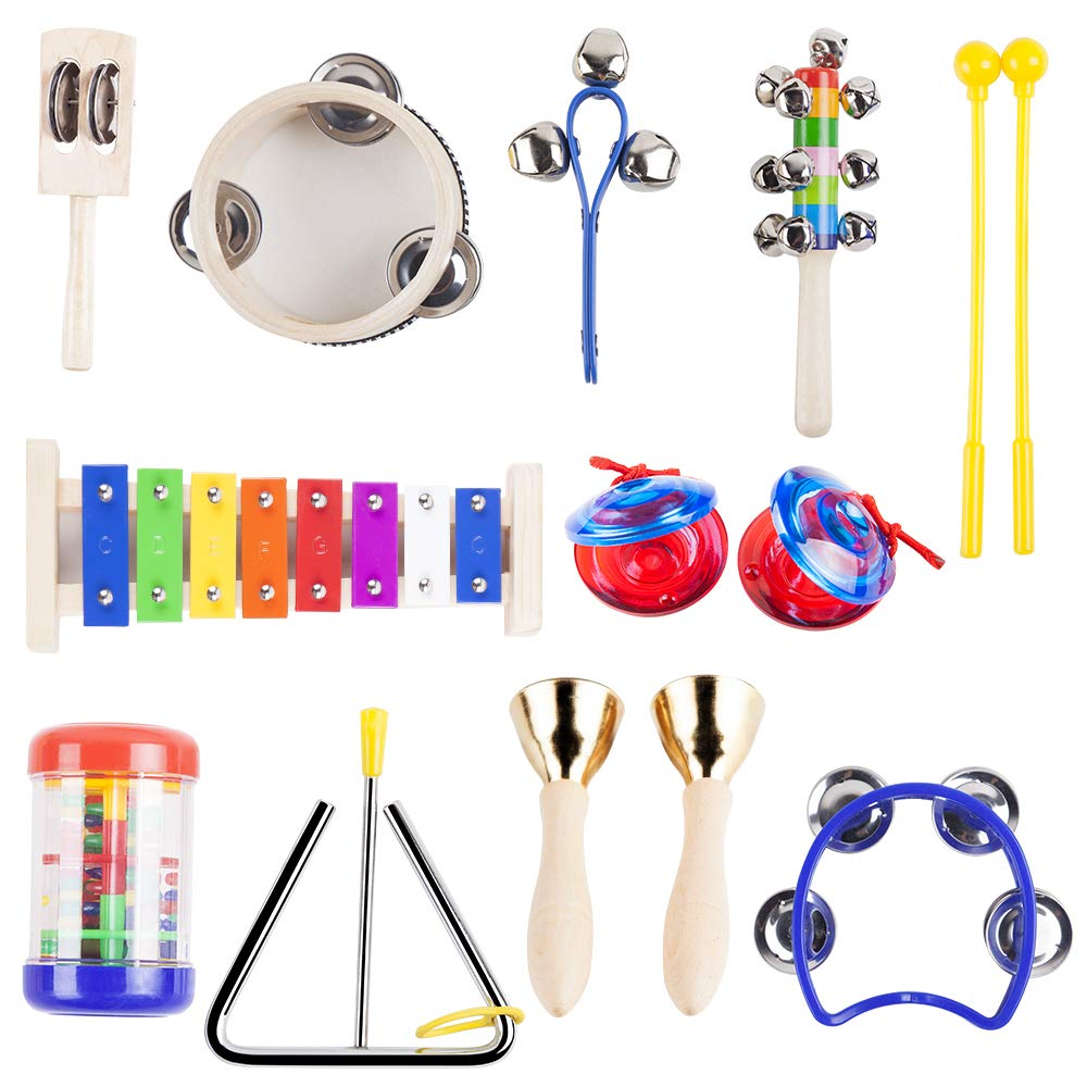 Vangoa Kids Musical Instruments, Preschool Educational Early Learning Toys Musical Toys for Boys and Girls with Carrying Bag, Type B