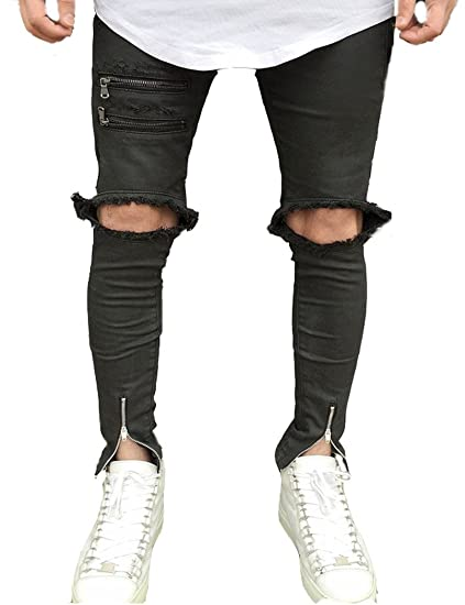 a38c2fbf26c Men's Black Skinny Fit Ripped Jeans Slim Open Holes Pants with Zipper  Details 32