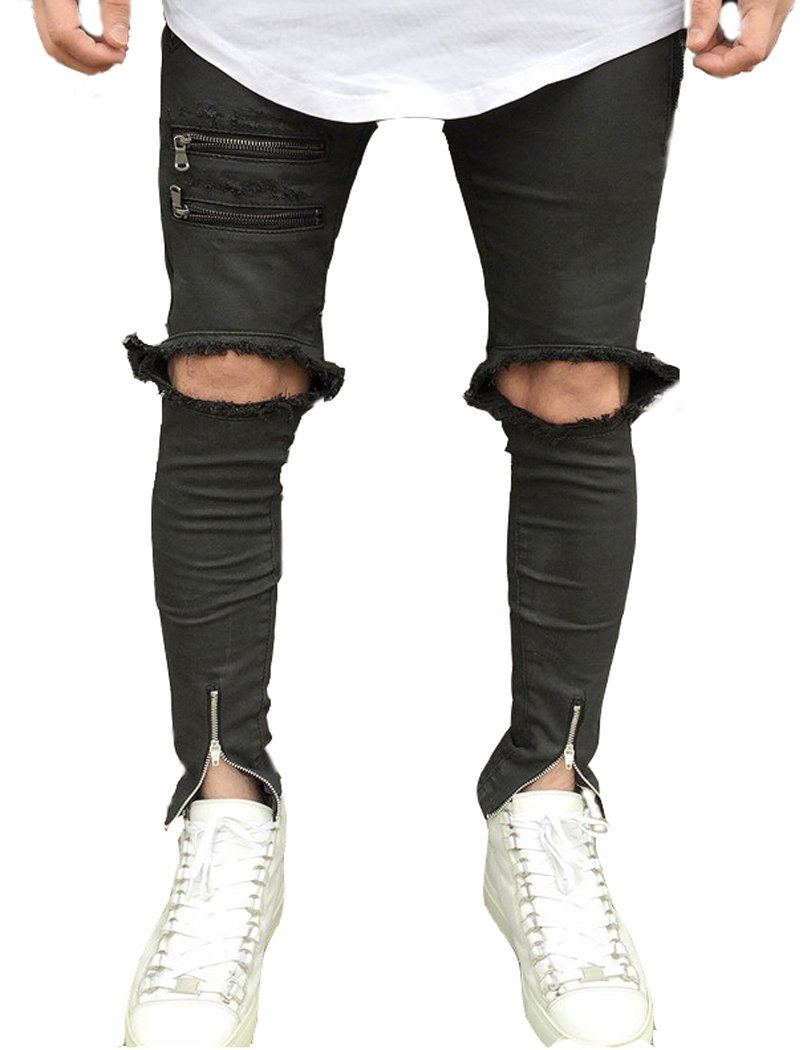 Men's Black Skinny Fit Ripped Jeans Slim Open Holes Pants with Zipper Details 30