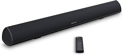 Soundbar, BESTISAN TV Sound Bar with Dual Bass Ports Wired and Wireless Bluetooth 5.0 Home Theater System 28 Inch, Enhanced Bass Technology, 3-Inch Drivers, Bass Adjustable, Wall Mountable, Dsp