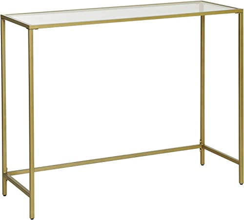 VASAGLE Console Table, Tempered Glass Sofa Table, Modern Entryway Table, Sturdy Metal Frame, Easy to Assemble, Adjustable Feet, for Living Room, Hallway, Golden ULGT26G