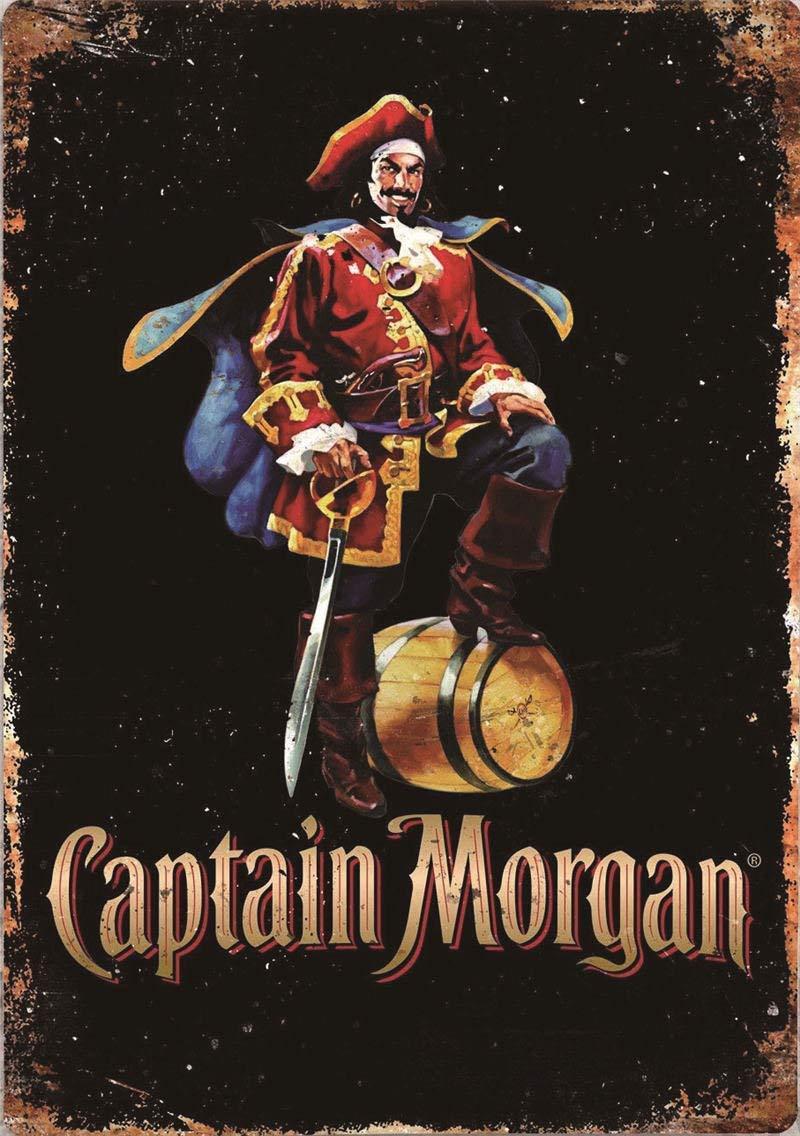 HiSign Captain Morgan R/étro Signe D/étain Vintage M/étal Mural Peinture Plaque D/écoration Affiche pour Bar Caf/é Magasin Accueil Restaurant 20 30cm