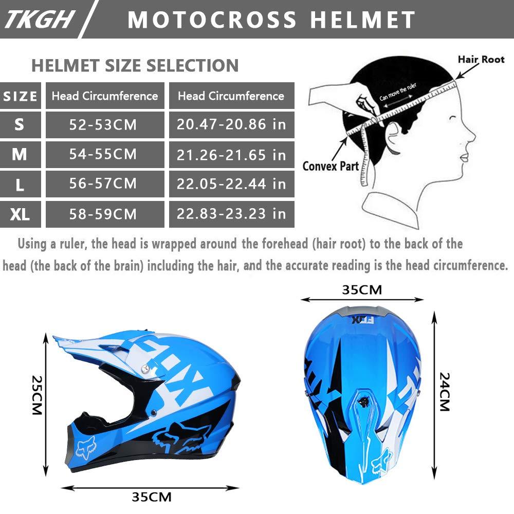 TKGH Casco Motocross con Gafas de Visera Guantes M/áscara Adulto Integrales Off-Road Motocicleta Casco para Moto de Nieve MX Moto ATV Motocicleta de Monta/ña Motocross,Blue,M